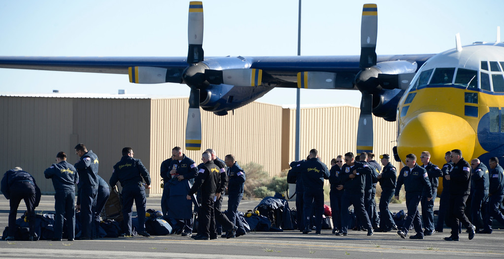 ". March 19,2014. Lancaster CA.  The famous C-130 Blue Angels transport plane known as ""Fat Albert\"" arrives  at Fox field as crew members get thing ready Wednesday morning.  The Los Angels County air show with the Blue Angels will happen this Friday and Saturday at Fox Field.  Photo by Gene Blevins/LA DailyNews"