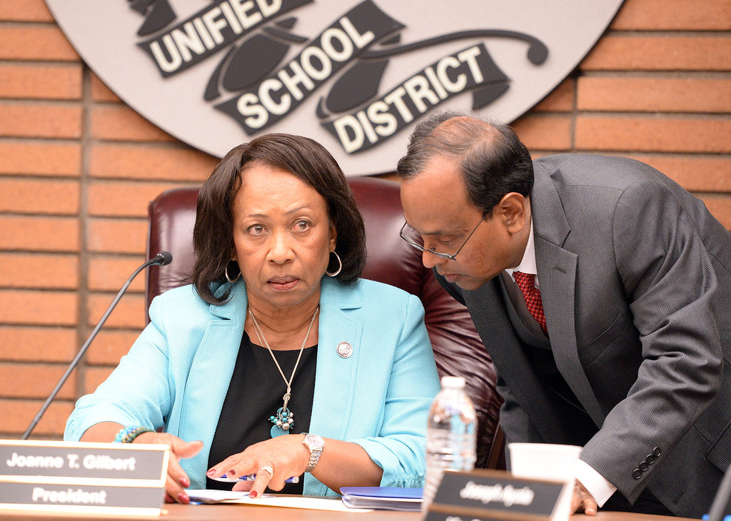 . Rialto Unified School District President Joanne Gilbert (left) listens to Interim Superintendent Mohammad Islam (right) prior to a special emergency meeting of the Rialto Unified School District board Wednesday May 7, 2014 to address the critical thinking assignment given to middle school students on whether the Holocaust occurred or was merely a political scheme created to influence public emotion and gain. (Will Lester/Inland Valley Daily Bulletin)