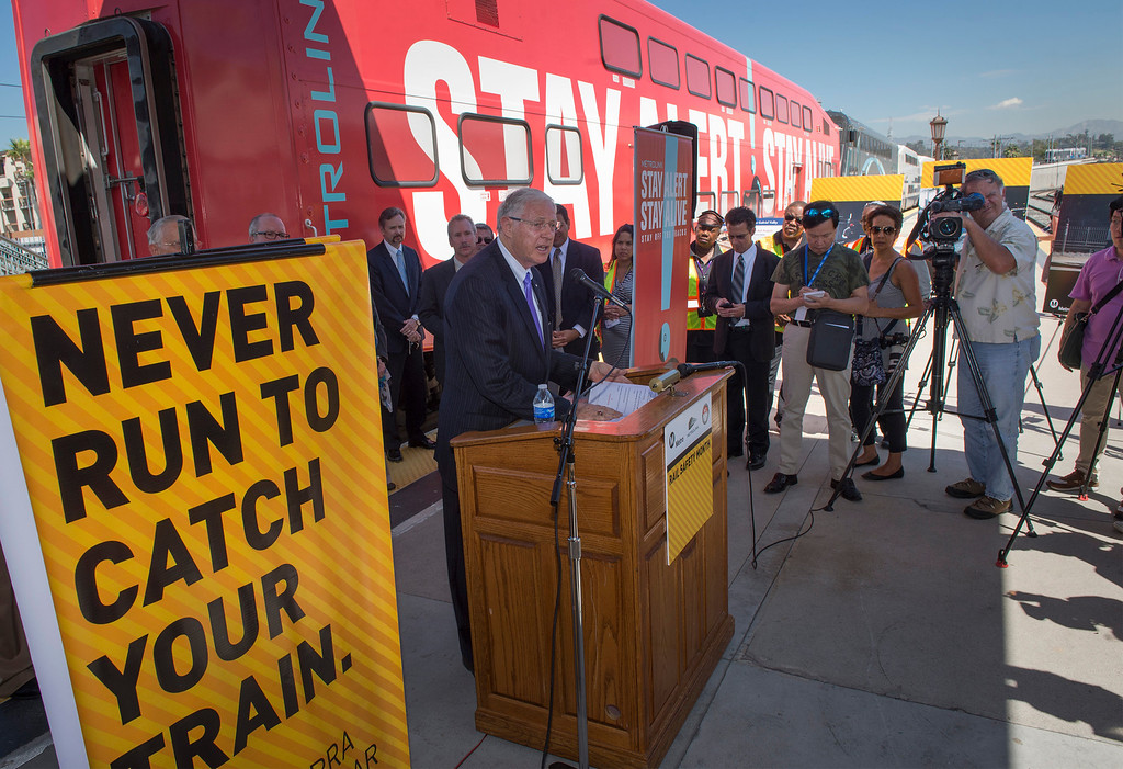 . MTA board member Mike Antonovich speaks during a press conference as part of California Rail Safety Month at Union Station, Los Angeles, Ca. Sept. 3, 2013.  Antonovich is also a Los Angeles County supervisor. (Staff photo by Leo Jarzomb/San Gabriel Valley Tribune)