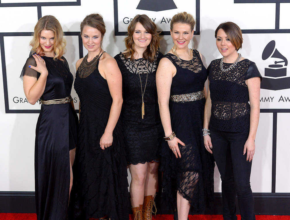 . Della Mae arrives at the 56th Annual GRAMMY Awards at Staples Center in Los Angeles, California on Sunday January 26, 2014 (Photo by David Crane / Los Angeles Daily News)