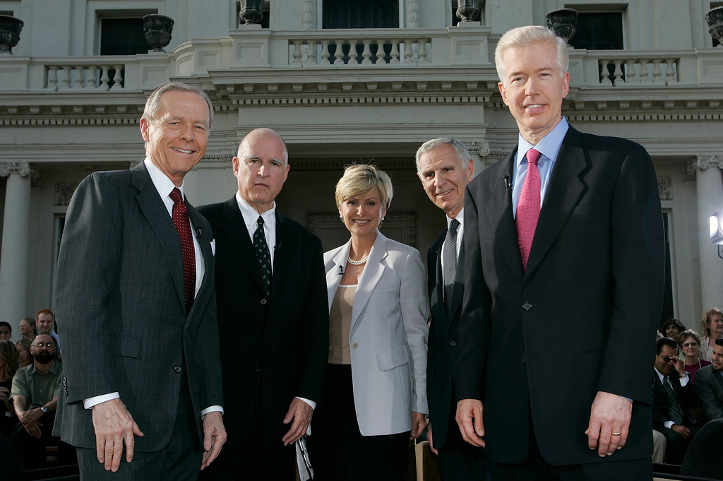 . Former California Governors from left:  Pete Wilson,  Jerry Brown, host Lisa McRee, George Deukmejian and Gray Davis make a return appearance Friday, May 13, 2005, on �California Connected,� a public television newsmagazine  during a roundtable discussion about the legislative changes they proposed on the program last season, held at The Huntington Library in San Marino, Calif. (AP Photo/Damian Dovarganes)