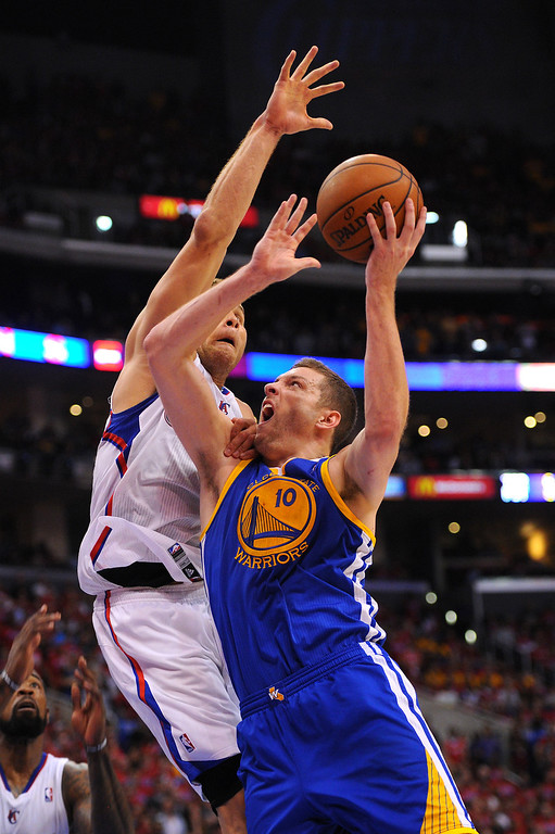 . The Clippers\' Blake Griffin defends the Warriors\' David Lee in game seven of the Western Conference playoffs, Saturday, May 3, 2014, at Staples Center. (Photo by Michael Owen Baker/L.A. Daily News)