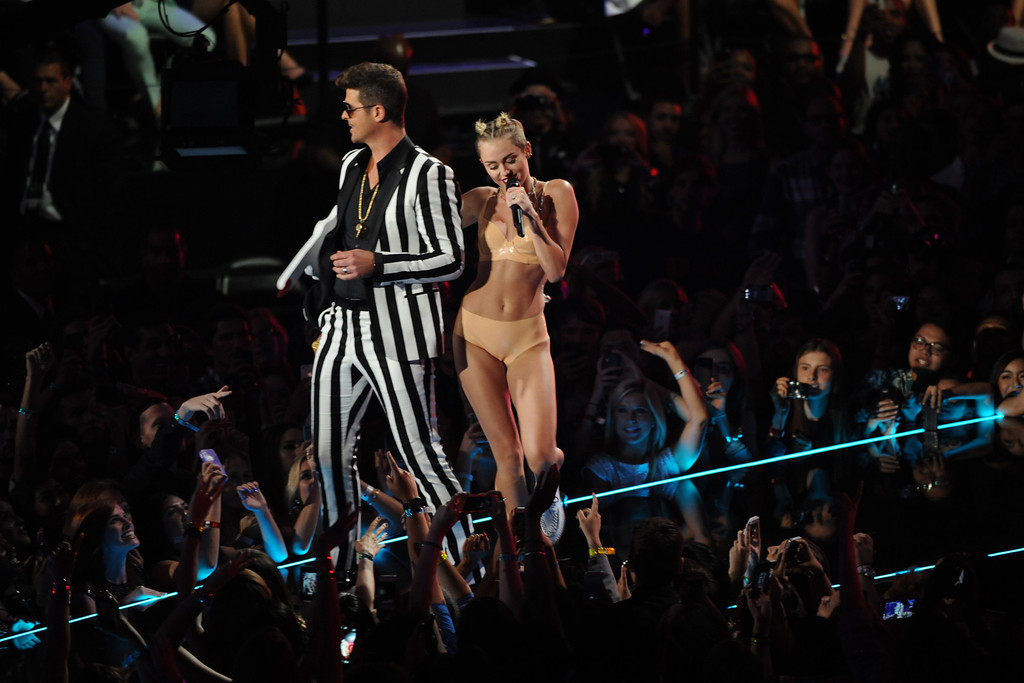 . Robin Thicke and Miley Cyrus perform at the MTV Video Music Awards on Sunday, Aug. 25, 2013, at the Barclays Center in the Brooklyn borough of New York. (Photo by Scott Gries/Invision/AP)