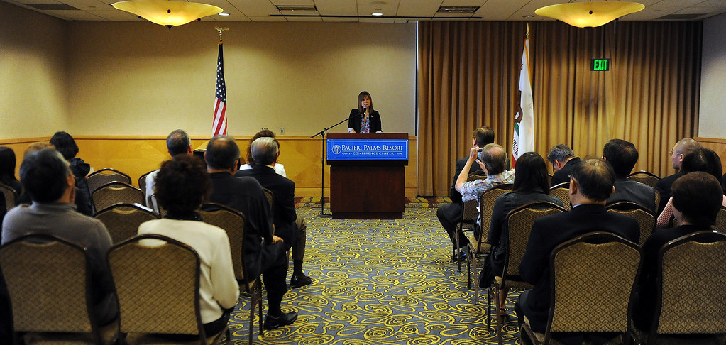 . Councilwoman Ling Ling Chang R-Diamond Bar announces her candidacy for State Assembly, 55th Assembly District during a press conference at Pacific Palms Resort on Friday, May 24, 2013 in Industry, Calif.  (Keith Birmingham Pasadena Star-News)