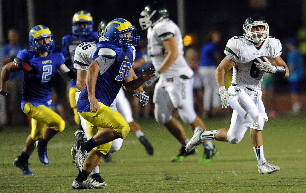 . Bonita\'s Jake Payton runs for a 93 yard touchdown against San Dimas in the first half of a prep football game at Citrus College on Thursday, Aug. 29, 2013 in Glendora, Calif.   (Keith Birmingham/Pasadena Star-News)