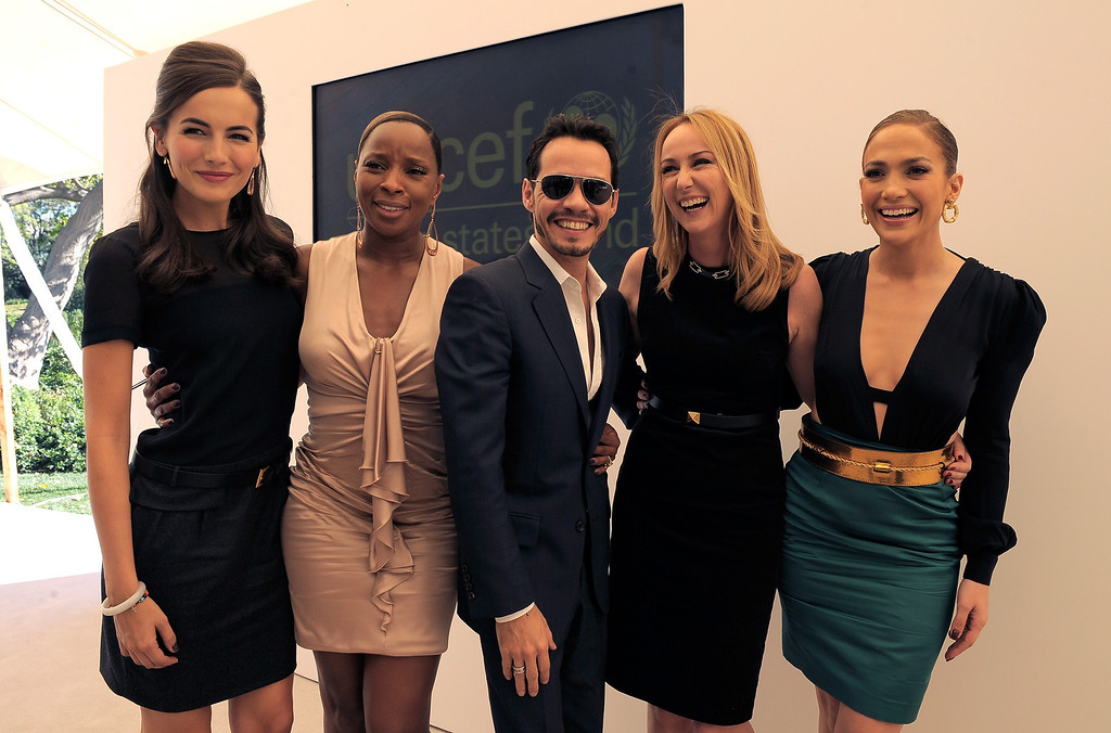 . LOS ANGELES, CA - FEBRUARY 11: (L-R) Actress Camilla Belle, singer Mary J. Blige, singer Marc Anthony, Creative Director of Gucci Frida Giannini and SInger Jennifer Lopez attend the first annual UNICEF Women Of Compassion Luncheon held at a private residence on February 11, 2011 in Los Angeles, California.  (Photo by Charley Gallay/Getty Images for UNICEF)