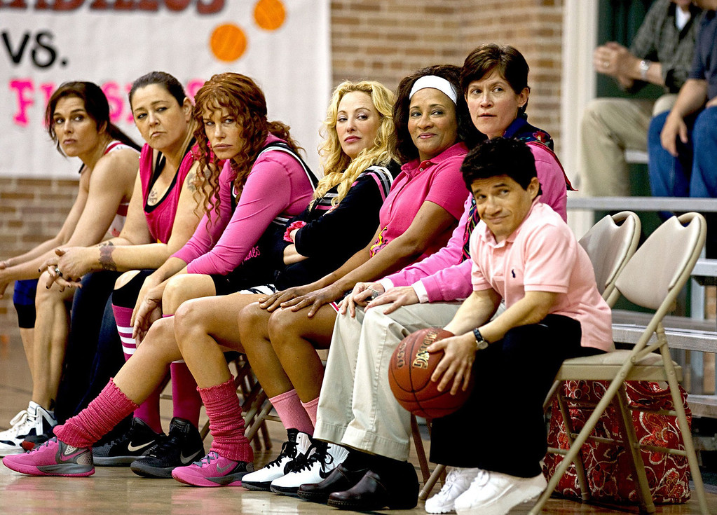 """. From left, Brooke Shields, Camryn Manheim, Daryl Hannah, Virginia Madsen and Wanda Sykes form a basketball team to raise money for breast cancer screening in the all-gal indie flick \""""The Hot Flashes,\"""" out July 12."""