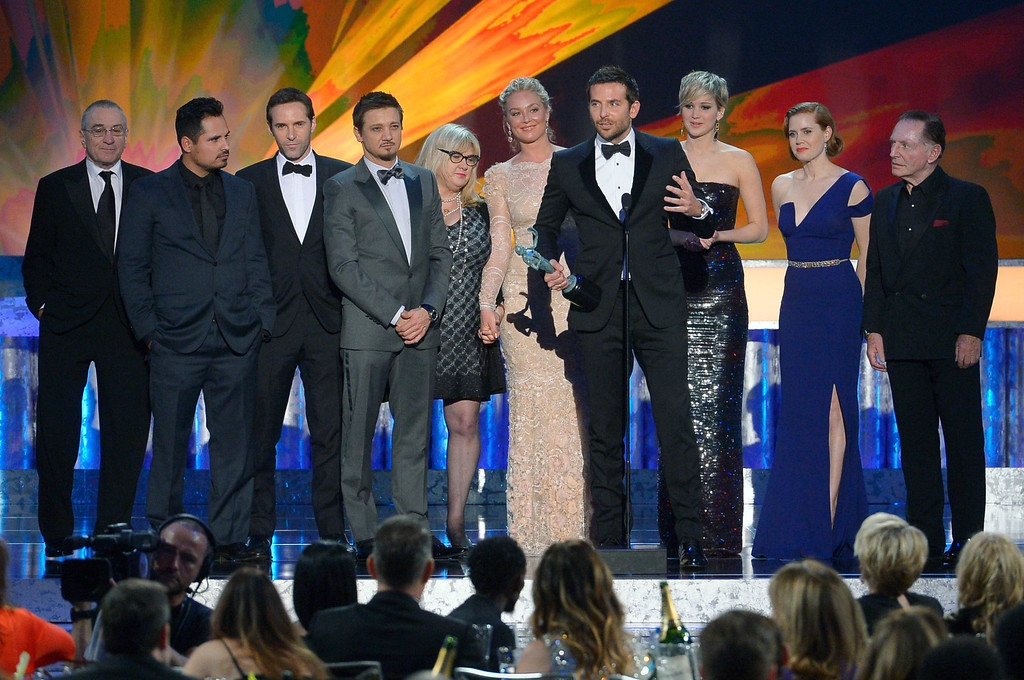 . Cast of �American Hustle� during the show of the 20th Annual Screen Actors Guild Awards  at the Shrine Auditorium in Los Angeles, California on Saturday January 18, 2014 (Photo by Andy Holzman / Los Angeles Daily News)