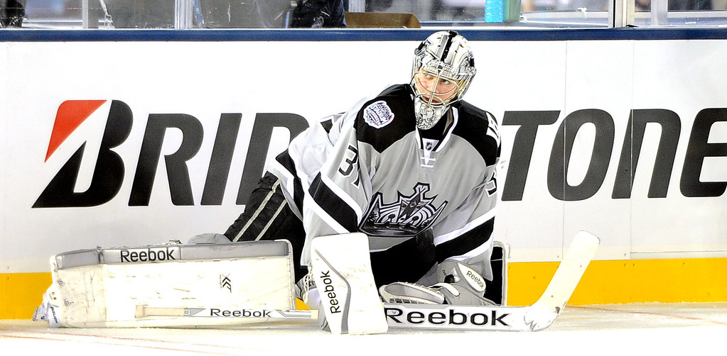 . Los Angeles Kings goalie Martin Jones stretches prior to the inaugural NHL Stadium Series game against the Anaheim Ducks at Dodger Stadium in Los Angeles on Saturday, Jan. 25, 2014. (Keith Birmingham Pasadena Star-News)