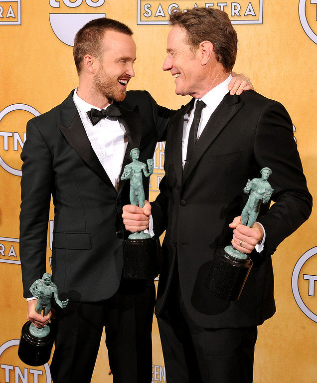 . Aaron Paul and Bryan Cranston backstage at the 20th Annual Screen Actors Guild Awards  at the Shrine Auditorium in Los Angeles, California on Saturday January 18, 2014 (Photo by John McCoy / Los Angeles Daily News)