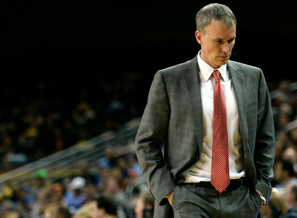 . Southern California head coach Andy Enfield walks towards the bench with his head down after UCLA hits a three pointer in the second half of a PAC-12 NCAA basketball game at Galen Center in Los Angeles, Calif., on Saturday, Feb. 8, 2014. UCLA won 83-73. (Keith Birmingham Pasadena Star-News)