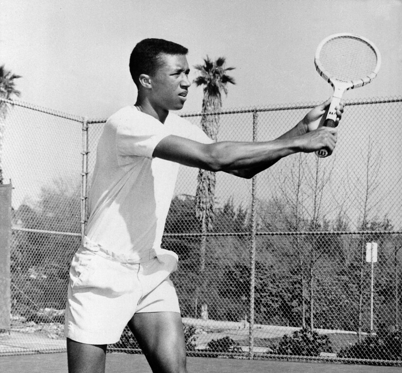 . Arthur Ashe, 20-year-old student at UCLA, became the first African American named to the U.S. Davis Cup squad, Aug. 1, 1963.  (AP Photo)