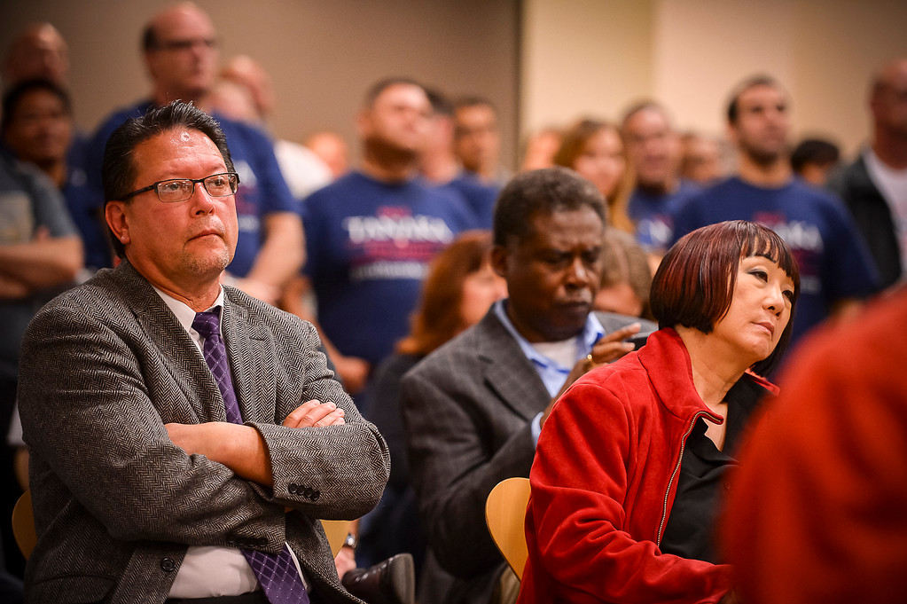 . A large crowd on hand to listen to candidates for Los Angeles County Sheriff at a debate at the Van Nuys Neighborhood Council on Wednesday, March 12, 2014. (Photo by David Crane/Los Angeles Daily News)