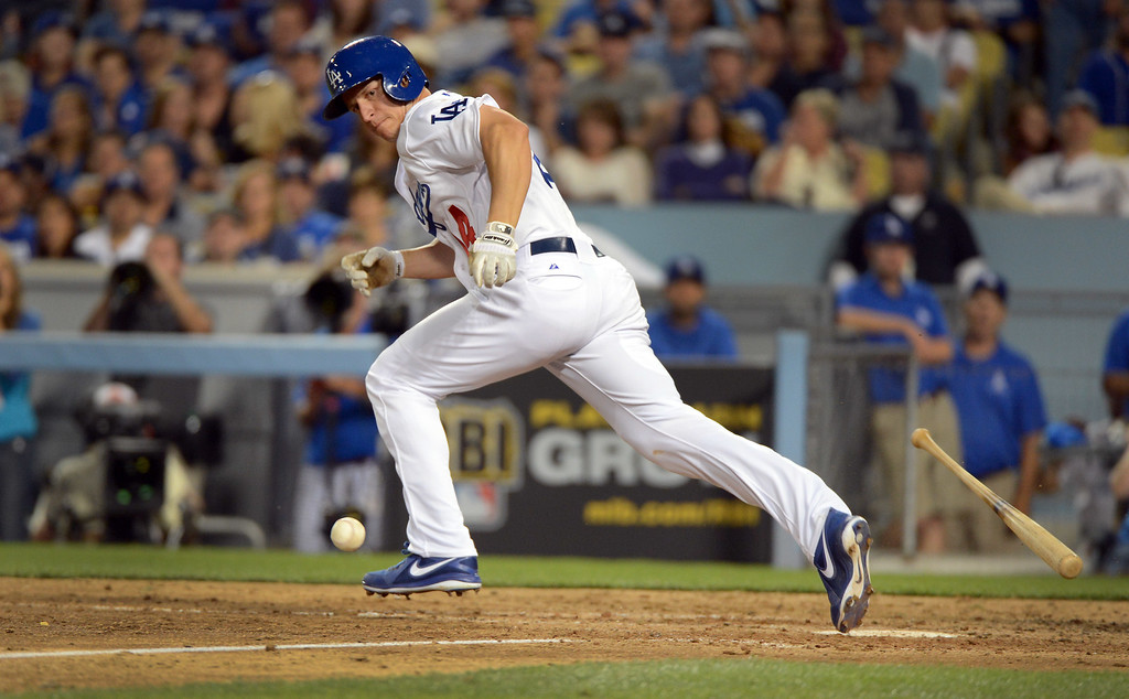 . Dodgers\' Mark Ellis bunt goes foul during game 3 of the NLDS at Dodger Stadium Sunday, October 6, 2013. (Photo by David Crane/Los Angeles Daily News)