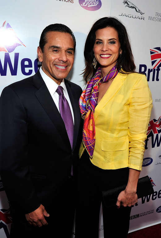 . Mayor Antonio Villaraigosa and Lu Parker attend the official launch party of BritWeek at a private residence in Hancock Park 2012 on April 24, 2012 in Los Angeles, California.  (Photo by Frazer Harrison/Getty Images)