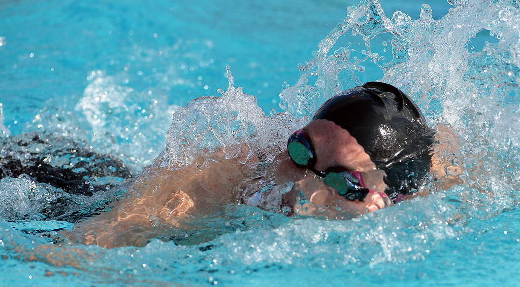 . Alverno\'s Kali Kearns competes in the 200 yard freestyle during the Division 4 CIF Southern Section Swimming Championships in the Riverside Aquatics Complex at Riverside City College in Riverside, Calif., on Friday, May 16, 2014.  (Keith Birmingham/Pasadena Star-News)