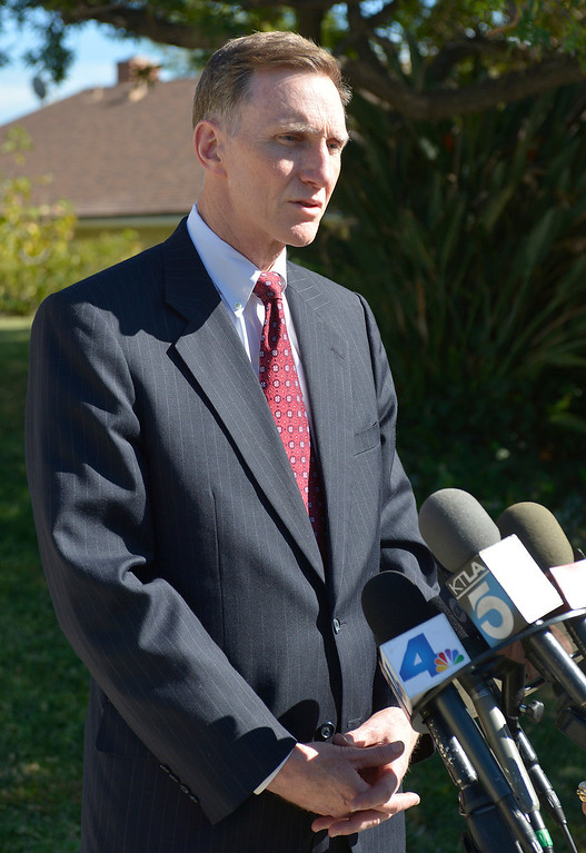 . TSA Administrator John Pistole speaks to the press in front of the home of TSA Behavior Detection Officer Gerardo Hernandez who was killed by a gunman in Terminal 3 at Los Angeles International Airport. Los Angeles, CA. 11/2/2013. photo by (John McCoy/Los Angeles Daily News)