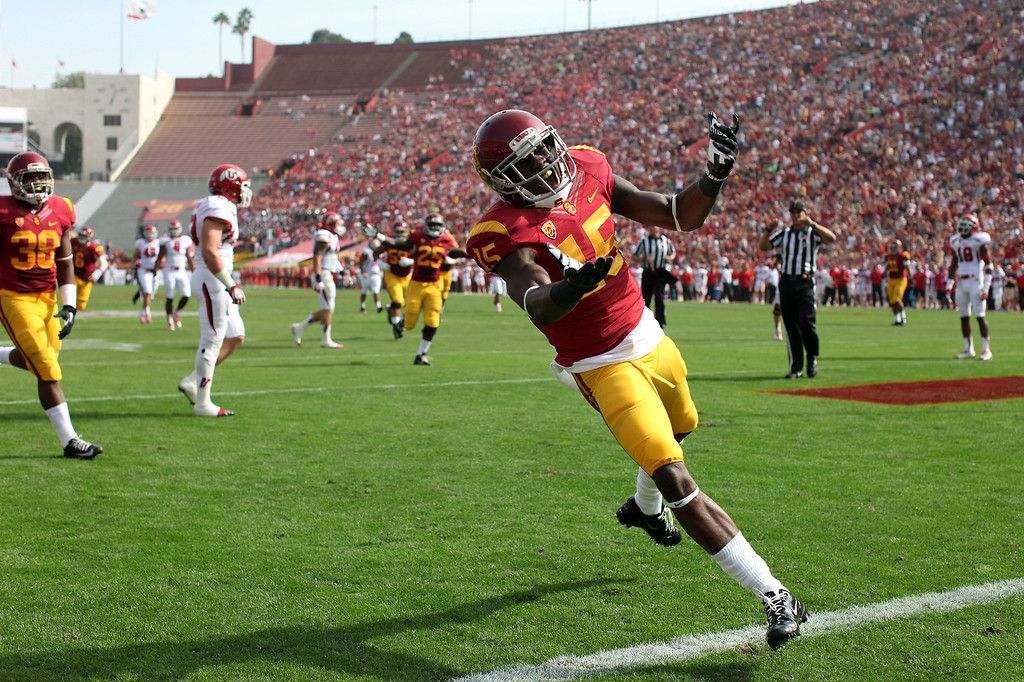 . USC WR Nelson Agholor celebrates his first-quarter touchdown against Utah, Saturday, October 26, 2013, at the L.A. Memorial Coliseum. (Michael Owen Baker/L.A. Daily News)