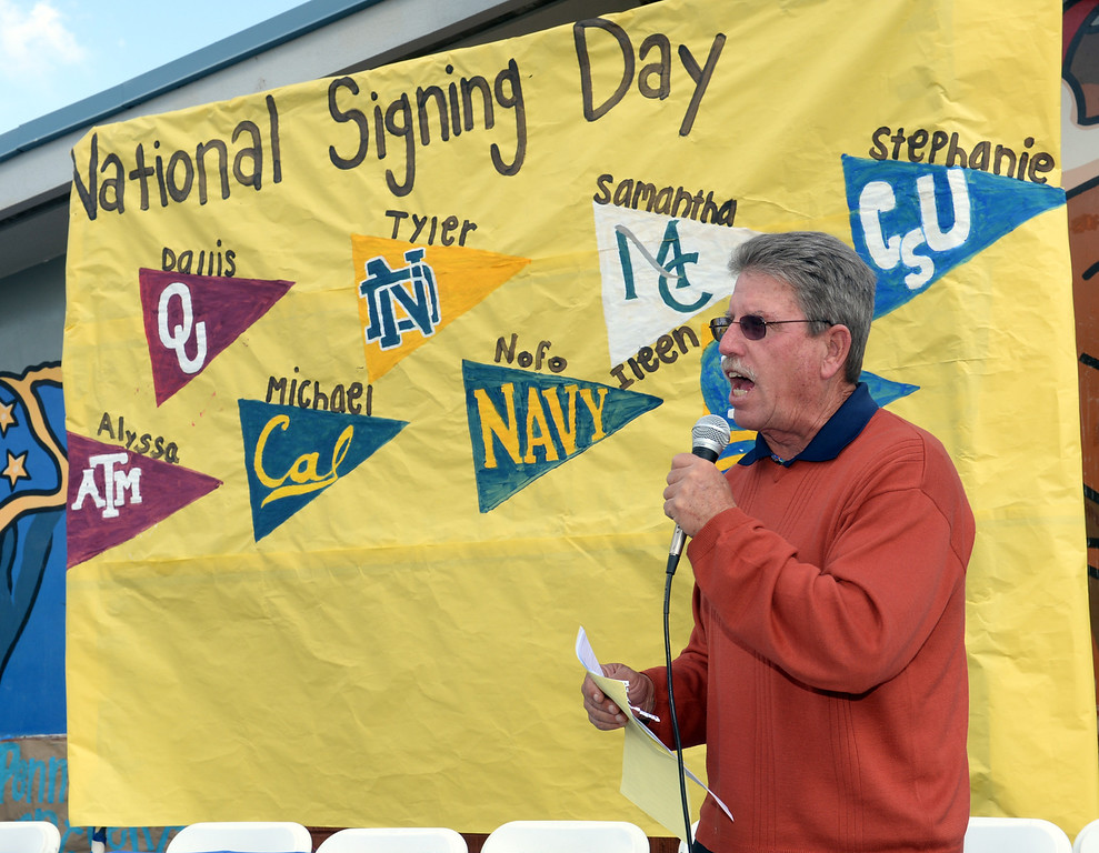 . Athletic director Kim Brooks announces as football and girls soccer players appear during National Signing Day at La Mirada High School on Wednesday February 5, 2014. (Staff Photo by Keith Durflinger/Whittier Daily News)