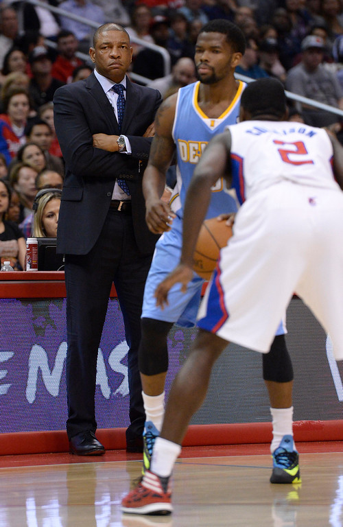 . Clippers Coach Doc Rivers. The Los Angeles Clippers defeated Denver Nuggets 117 to 105 in a regular season NBA game. Los Angeles, CA. 4/15/2014(Photo by John McCoy / Los Angeles Daily News)