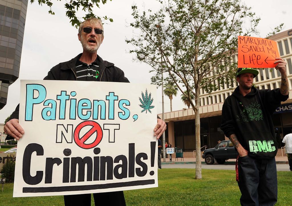 . Medical Marijuana Patients Protest outside San Bernardino City Hall Thursday May 16, 2013 in San Bernardino..LaFonzo Carter/San Bernardino Sun