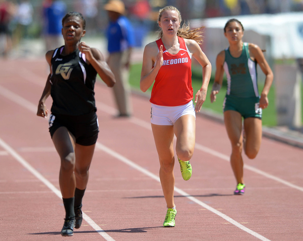 . Redondo\'s Anevay Hiehle in the 400 meter Division 2 race of the CIF Southern Section Track and Field Championships Saturday at Mt. SAC. 20130518 Photo by Steve McCrank / Staff Photographer