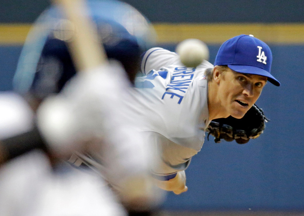. Los Angeles Dodgers starting pitcher Zack Greinke throws during the first inning of a baseball game against the Milwaukee Brewers Tuesday, May 21, 2013, in Milwaukee. (AP Photo/Morry Gash)