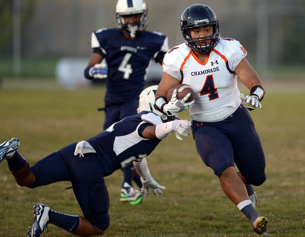 . Chaminade High School\'s Okalani Taufahema-Langi #4 runs up field during their game against Venice High School at Venice High School in Venice Thursday, August 28, 2014. (Photo by Hans Gutknecht/Los Angeles Daily News)
