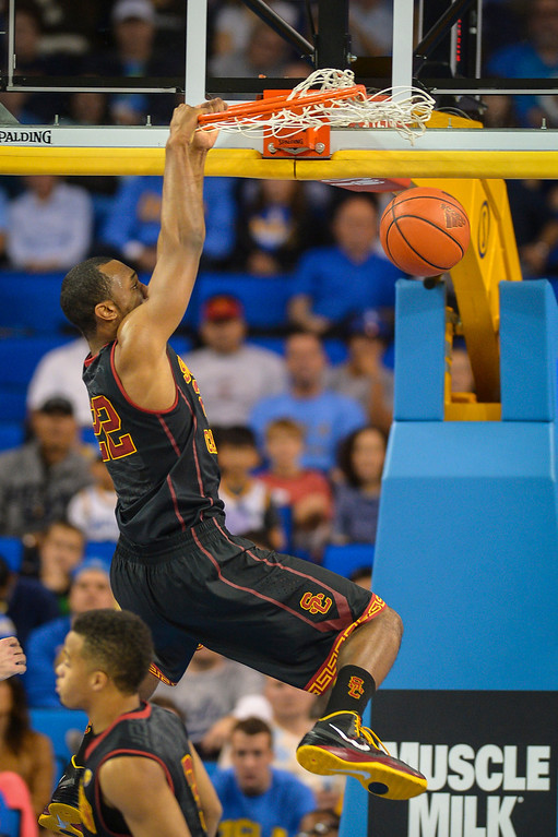 . USC�s Byron Wesley slams in a break away during game action at Pauley Pavilion Sunday, December 5, 2014. UCLA  defeated USC 107-73.  Photo by David Crane/Los Angeles Daily News.