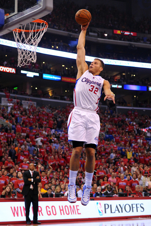 . The Clippers\' Blake Griffin has a breakaway dunk against the Warriors\' in game seven of the Western Conference playoffs, Saturday, May 3, 2014, at Staples Center. (Photo by Michael Owen Baker/L.A. Daily News)