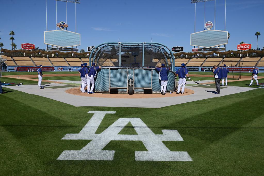 . Dodgers warm up at Dodger Stadium Sunday, October 6, 2013. (Photo by David Crane/Los Angeles Daily News)