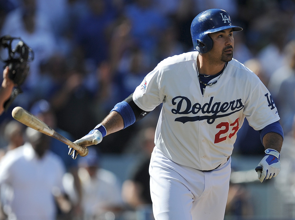. Andrian#23 Gonzalez hits a homer in the 3rd inning. The Dodgers played the Saint Louis Cardinals in game 5 of the National League Championship Series at Dodger Stadium in Los Angeles, CA. 10/15/2013. photo by (Hans Gutknecht)/Los Angeles Daily News)
