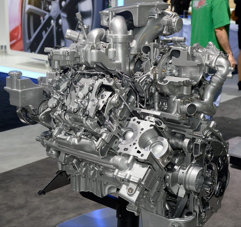 . Nov 20,2013 Los Angeles CA. USA. The new Duramax diesel 6.6L V-8 engine on display during the 2013 Los Angeles Auto Show. Photo by Gene Blevins/LA Daily News