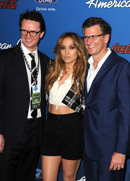 ". LOS ANGELES, CA - MARCH 03:  Fox Searchlight Film Chief Peter Rice, American Idol Judge Jennifer Lopez and Entertainment President of the Fox Broadcasting Company Kevin Reilly attend Fox\'s ""American Idol\"" Finalist Party on March 3, 2011 in Los Angeles, California.  (Photo by Kevin Winter/Getty Images)"