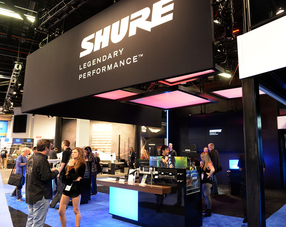 . Shure shows their products during NAMM (National Association of Music Merchants), the world wide music trade show at the Anaheim Convention Center in Anaheim on Sunday January 26, 2014. NAMM is a music trade show drawing retailers and other industry people to Anaheim for four days of everything music. (Staff Photo by Keith Durflinger/San Gabriel Valley Tribune)