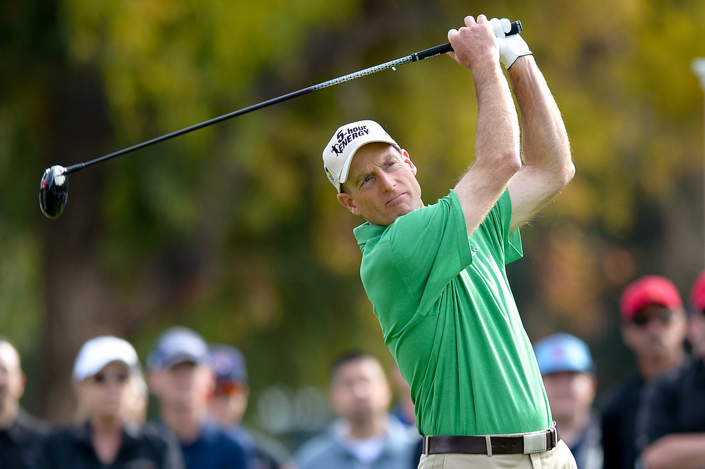 . Jim Furyk tees off from the second hole during the third round of the Northern Trust Open, Saturday, February 15, 2014, at Riviera Country Club. (Photo by Michael Owen Baker/L.A. Daily News)