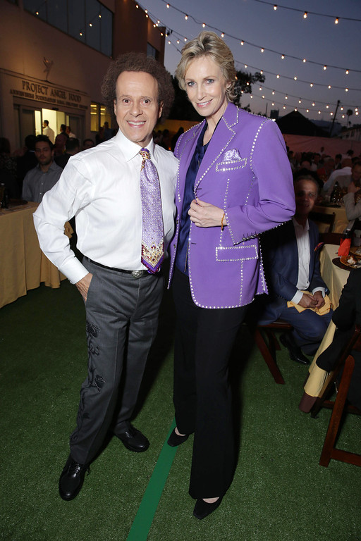 . Richard Simmons and Honoree Jane Lynch seen at Project Angel Food\'s Annual Angel Awards Celebration, on Saturday, August, 10, 2013 in Los Angeles. (Photo by Eric Charbonneau/Invision for Project Angel Food/AP Images)