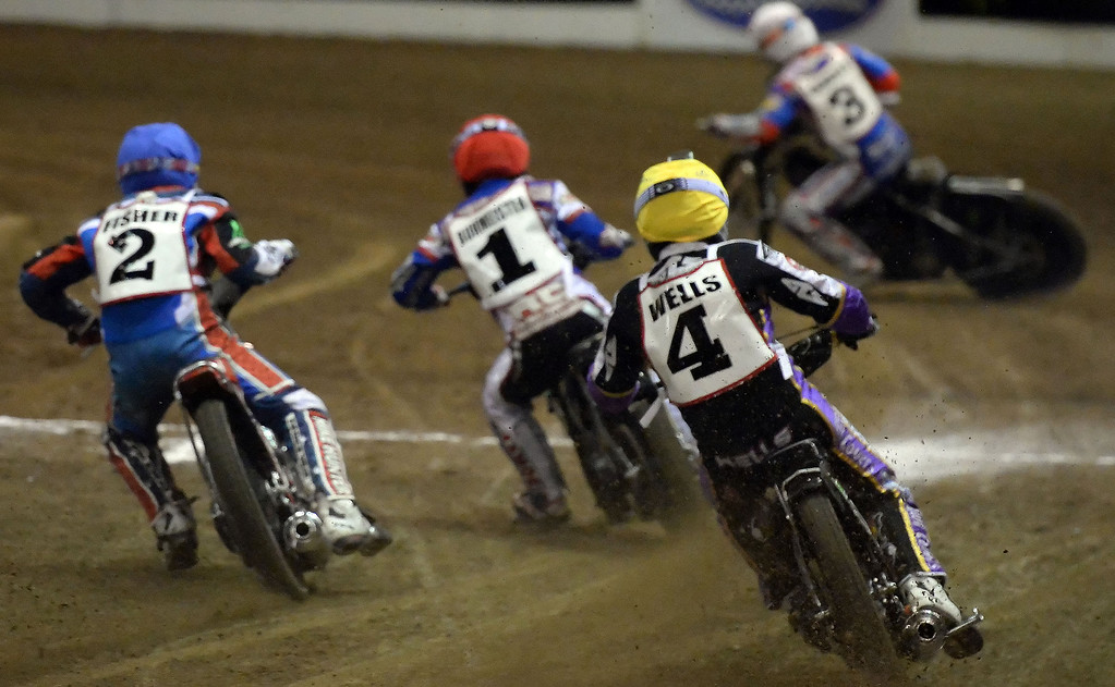 . The first race during the Monster Energy Speedway Cycles at the Industry Speedway in the Industry Hills Grand Arena in Industry, Calif., on Saturday, Dec. 28, 2013.     (Keith Birmingham Pasadena Star-News)