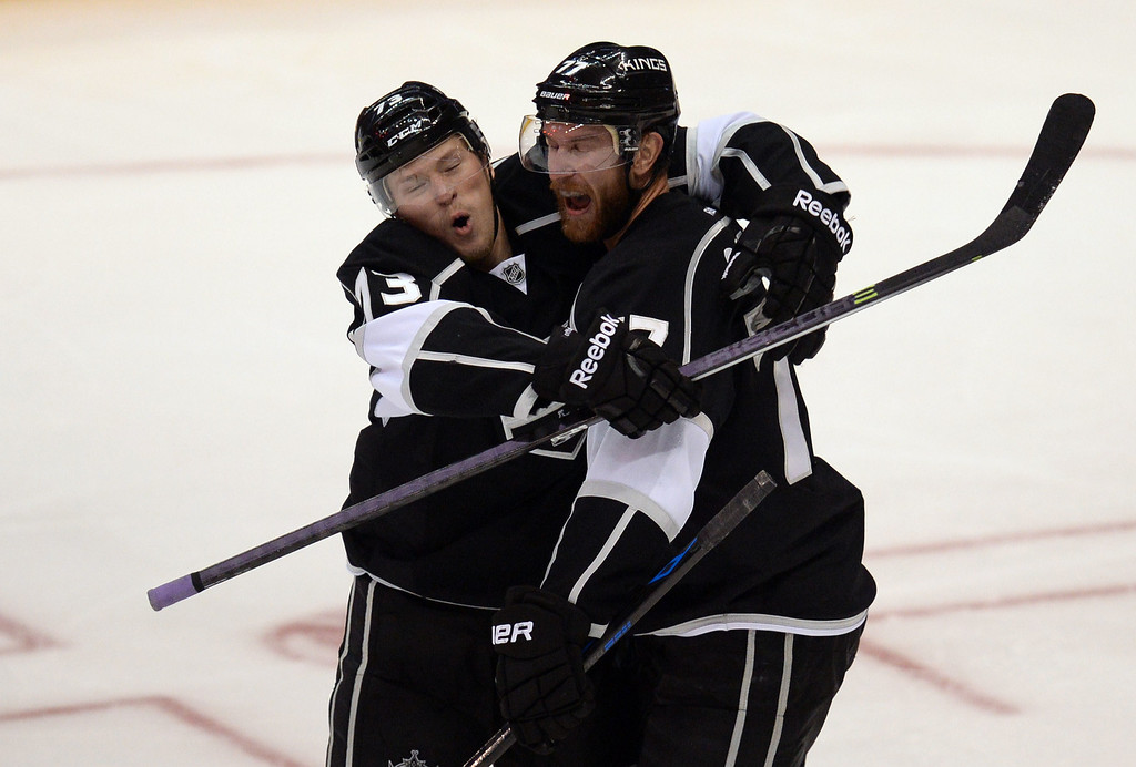 . The Kings� Jeff Carter #77 gets a hug from teammate Tyler Toffoli #73 after Carter scored a goal in the second period after scoring a goal in the second period during Game 3 of the Western Conference finals against the Blackhawks at the Staples Center on Saturday, May 24, 2014. (Photo by Hans Gutknecht/Los Angeles Daily News)