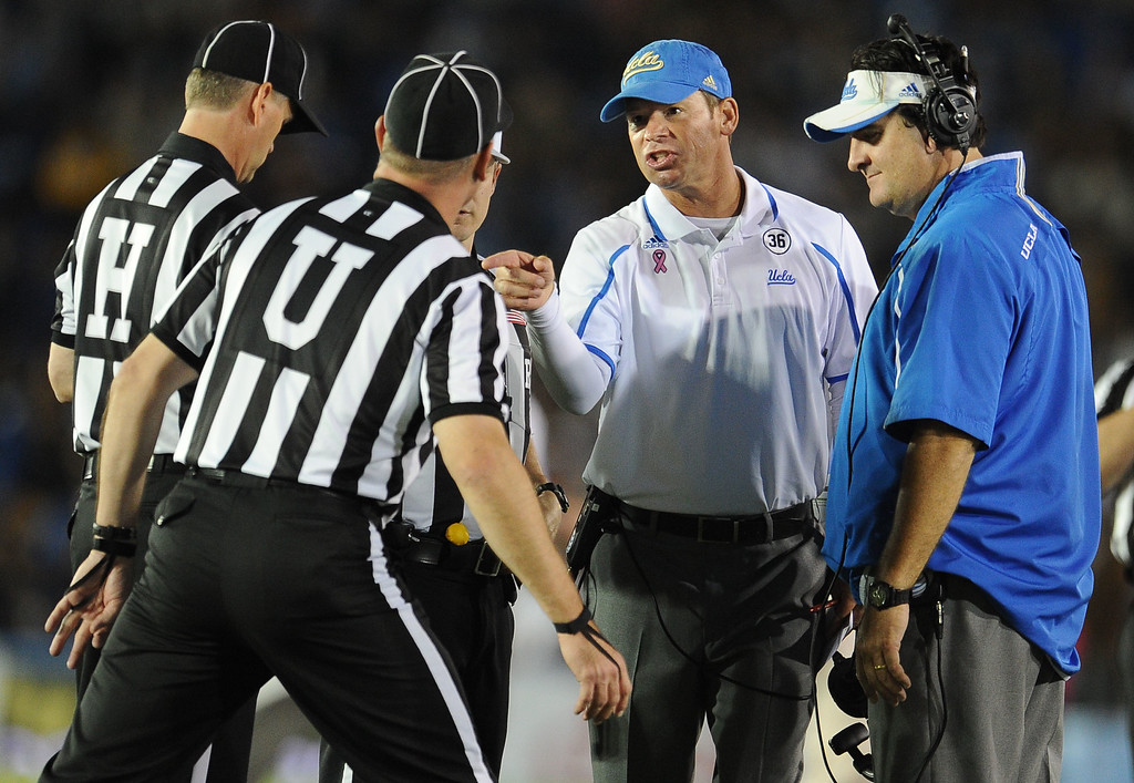 . UCLA head coach Jim Mora upset with officials during the first half of their college football game against California in the Rose Bowl in Pasadena, Calif., on Saturday, Oct. 12, 2013.   (Keith Birmingham Pasadena Star-News)