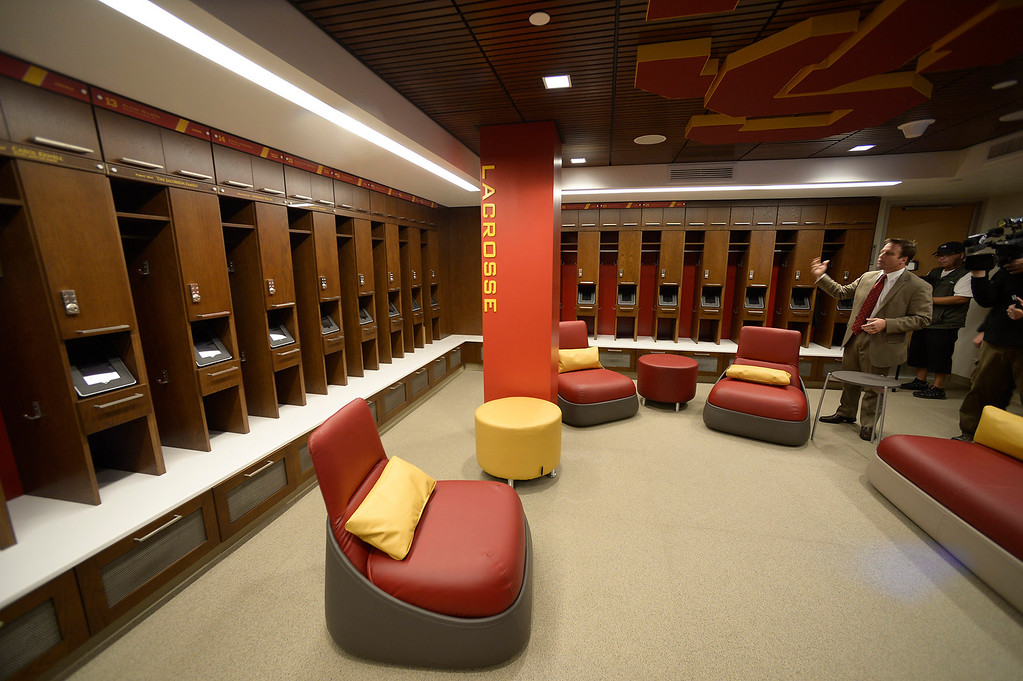 . The women\'s lacrosse team has its own locker room complete with iPads.  Heritage Hall, which houses USC\'s athletic department, has been closed for the past year while undergoing a $35-million renovation.  The building first opened in 1971 at a cost of $2.8 million and was originally 48,000 square feet. It now is 80,000 square feet. As part of the renovation, Heritage Hall\'s two-story lobby has been transformed into a state-of-the-art museum space featuring interactive displays. Heritage Hall also includes a sports performance center, a broadcast studio, a lounge for Women of Troy student-athletes, a rowing ergometer room and an indoor golf driving area, plus new locker rooms, meeting rooms, equipment room and event space.   Los Angeles , CA. January 30, 2014 (Photo by John McCoy / Los Angeles Daily News)
