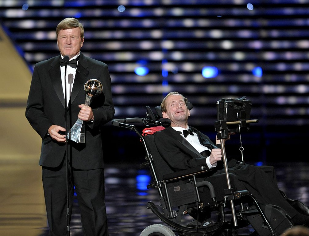 . Dick Hoyt, left, and Rick Hoyt,  accept the Jimmy V Perseverance Award at the ESPY Awards on Wednesday, July 17, 2013, at the Nokia Theater in Los Angeles. (Photo by John Shearer/Invision/AP)